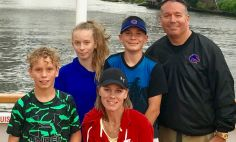 Dee Burlile, pictured center with her family, credits her three children with saving her life.