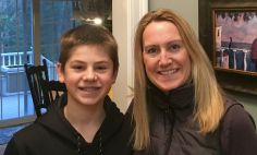 Michelle Marchionni pictured at home with her son Sam in April, 2017.