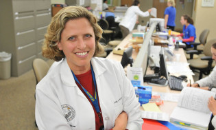 Palliative care researcher Jean Kutner, M.D., in her lab at the University of Colorado.