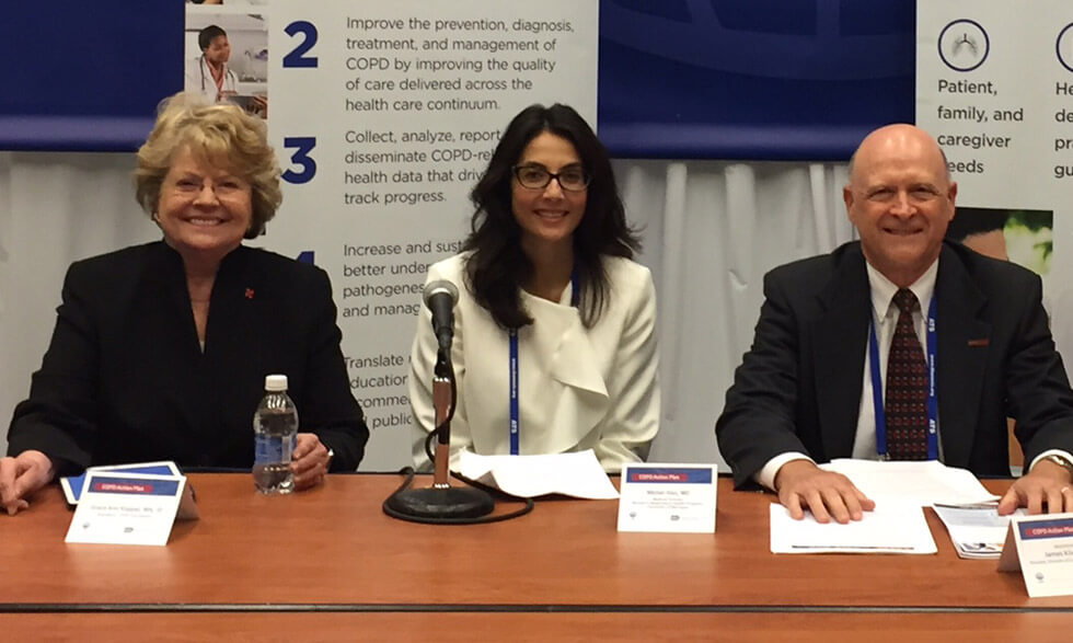 From left to right: Grace Anne Dorney Koppel, MeiLan K. Han, M.D., M.S., and James P. Kiley, Ph.D.