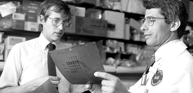Dr. Fauci and Dr. Clifford Lane [M.D.] discussing AIDS-related data in 1987.