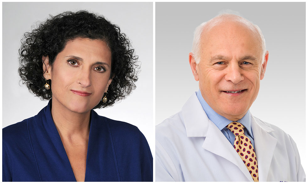 Carol Feghali-Bostwick, Ph.D. (left) and John Varga, M.D. (right) work with NIH on scleroderma research.
