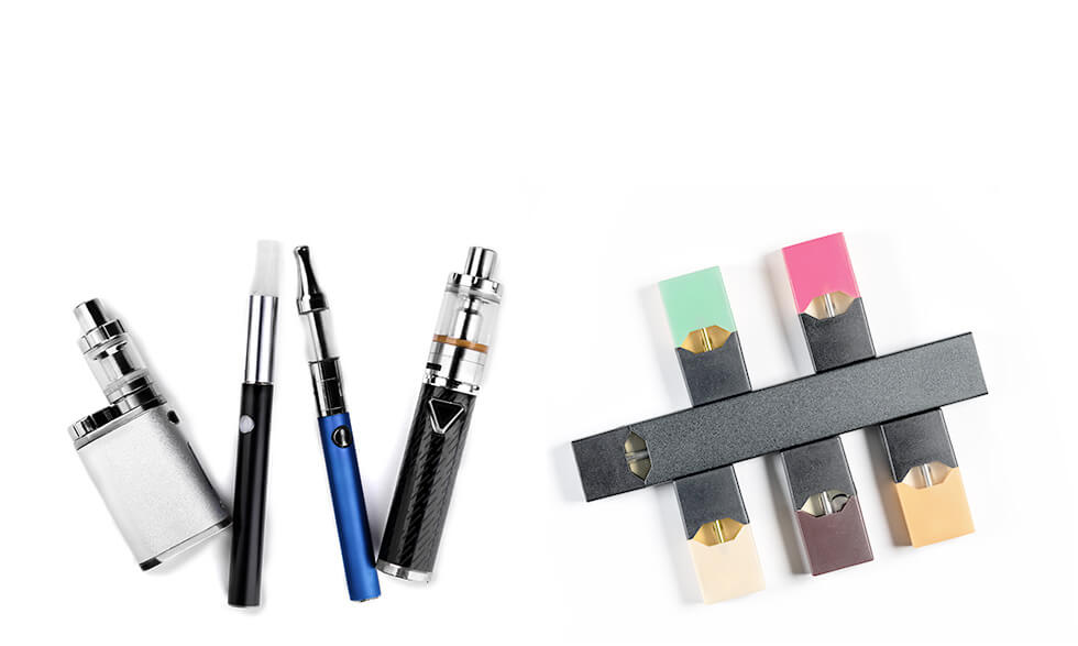Common vaping devices include tanks or mods (left) and e-cigarettes.