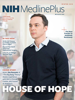 Jim Parsons on the cover of the Winter 2018 Issue of NIH MedlinePlus Magazine