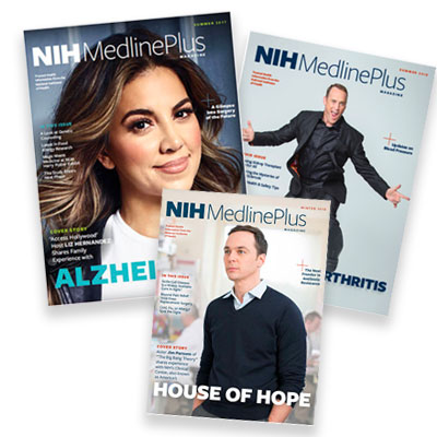 Cover of NIH MedlinePlus Magazine from issues featuring Jim Parsons, Matt Iseman and Liz Herndandez